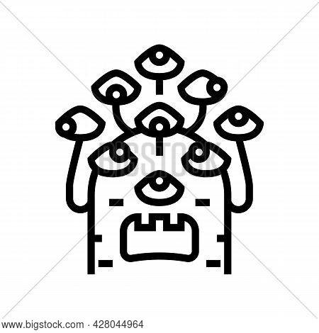 Alien With Nine Eyes Line Icon Vector. Alien With Nine Eyes Sign. Isolated Contour Symbol Black Illu