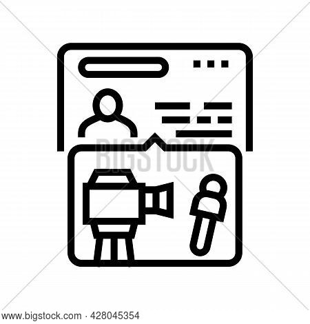 Visa For Journalists Line Icon Vector. Visa For Journalists Sign. Isolated Contour Symbol Black Illu