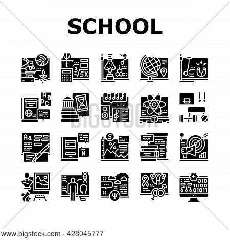School Subjects Learn Collection Icons Set Vector. Geography And Literature, Spanish And English Lan