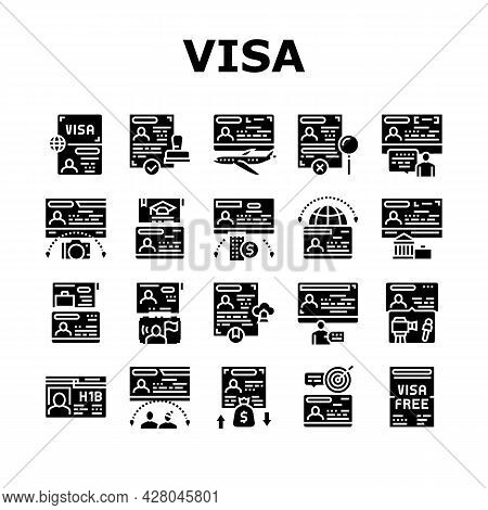 Visa For Traveling Collection Icons Set Vector. Business And Transit Visa, Permitting Document For B