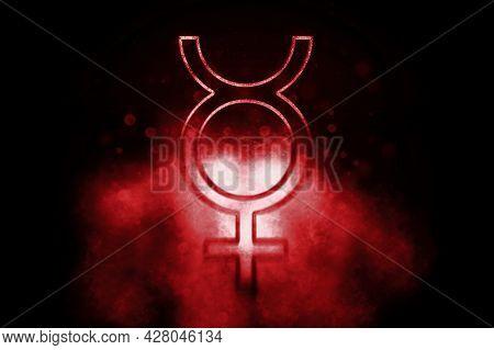 Symbol Of Mercury, Mercury Sign, Astrology Mercury Planet, Blue Symbol