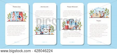 Drama School Class Or Club Mobile Application Banner Set. Students Playing