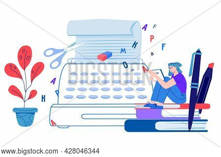Copywriting Concept Banner With Copywriter Or Blogger Female Character For Web Banner, Infographics,