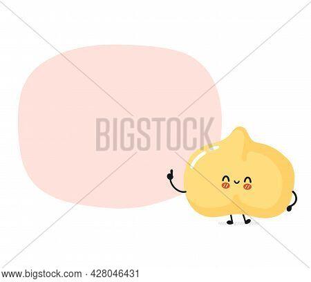 Cute Funny Chickpea Bean Character With Text Box. Vector Flat Cartoon Kawaii Character Illustration