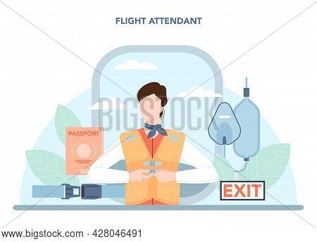 Stewardess Concept. Flight Attendants Help Passenger In Airplane