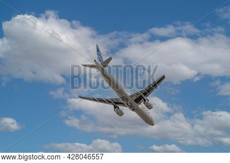 Zhukovsky, Moscow Region, Russia-july 23, 2021: A New Russian Civil Airliner Ms-21-300 With Pd-14 En