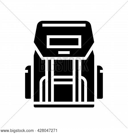 Hiking Backpack For Hunting Glyph Icon Vector. Hiking Backpack For Hunting Sign. Isolated Contour Sy