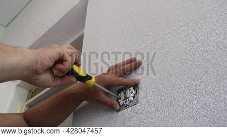 Fixing The Switch Body To The Wall, Screwing The Switch With Screws At The End Of The Installation,