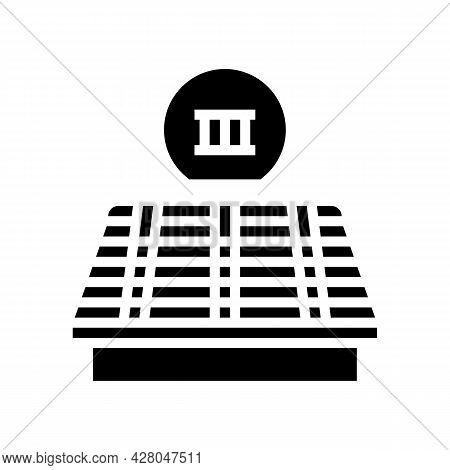 Third Stage Of Roof Replacement Glyph Icon Vector. Third Stage Of Roof Replacement Sign. Isolated Co