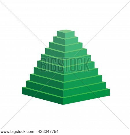 Pyramid Scheme 10 Ten Steps. Vector Hierarchy Level Chart Graph, Green Diagram Structure. Triangle 3