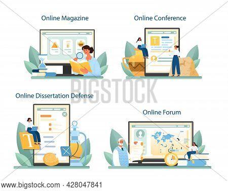 Historian Online Service Or Platform Set. History Science, Paleontology