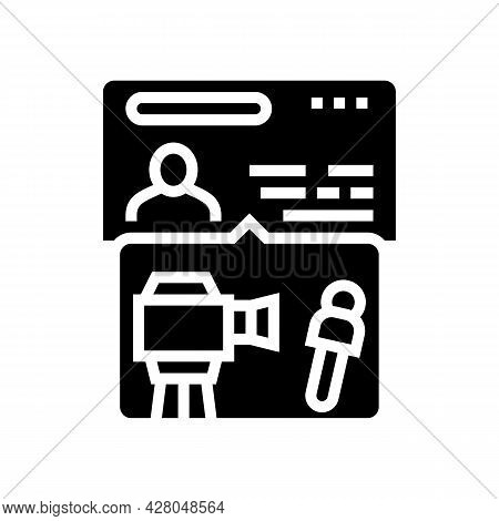 Visa For Journalists Glyph Icon Vector. Visa For Journalists Sign. Isolated Contour Symbol Black Ill