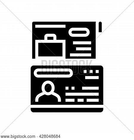 Work Visa Glyph Icon Vector. Work Visa Sign. Isolated Contour Symbol Black Illustration