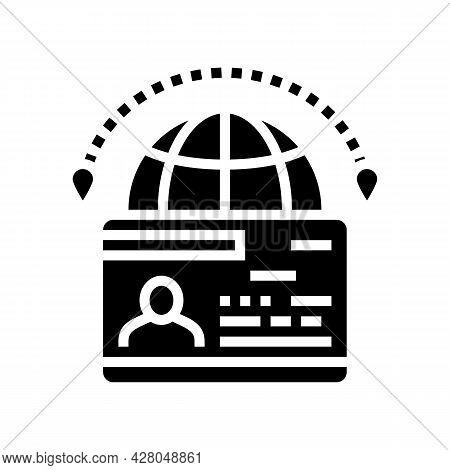 Immigration Visa Glyph Icon Vector. Immigration Visa Sign. Isolated Contour Symbol Black Illustratio