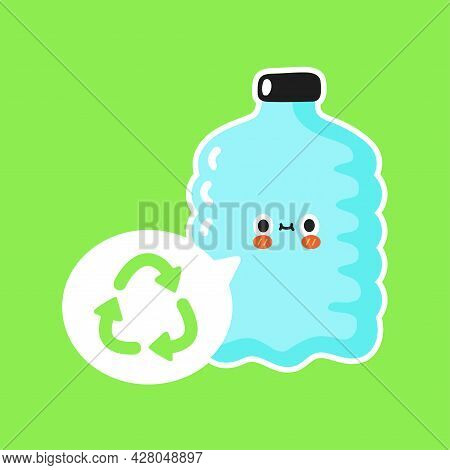 Cute Plastic Bottle With Recycle Sign In Speech Bubble. Vector Cartoon Character Sticker Illustratio