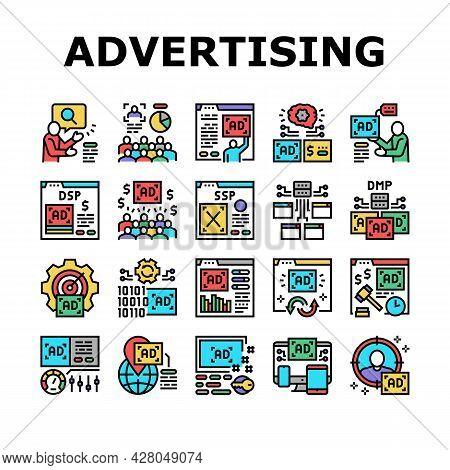 Programmatic Advertising Service Icons Set Vector. Audience Programmatic Advertising And Analytics,