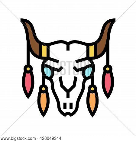 Animal Scull With Boho Decoration Color Icon Vector. Animal Scull With Boho Decoration Sign. Isolate