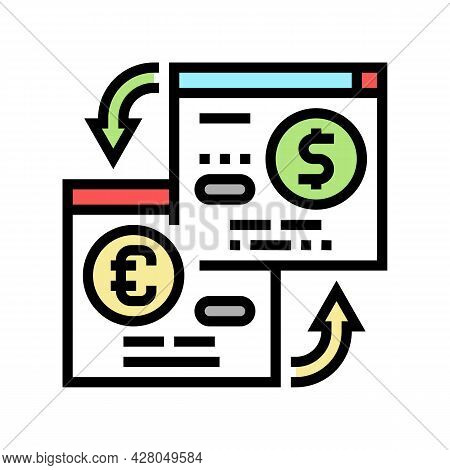 Opening Savings Accounts In Foreign Currency Color Icon Vector. Opening Savings Accounts In Foreign