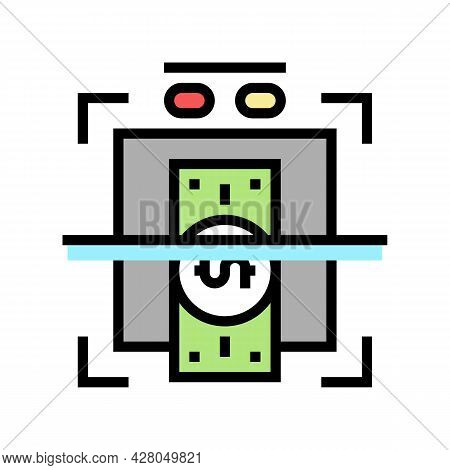 Verification Of Banknotes For Authenticity Color Icon Vector. Verification Of Banknotes For Authenti
