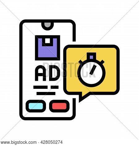 Delivering Advertise Ephemeral Color Icon Vector. Delivering Advertise Ephemeral Sign. Isolated Symb