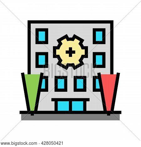 Building Multicolor Lighting Color Icon Vector. Building Multicolor Lighting Sign. Isolated Symbol I