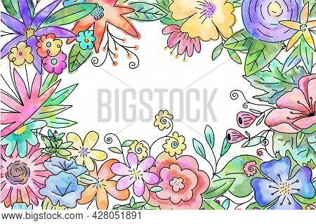 A Loosely Designed Watercolor Style Floral Posy Page Border With Blank Copy Space.