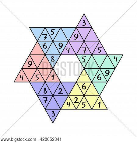 Star Sudoku For Children Colorful Worksheet Vector Illustration. Educational Number Game - Place 1-9
