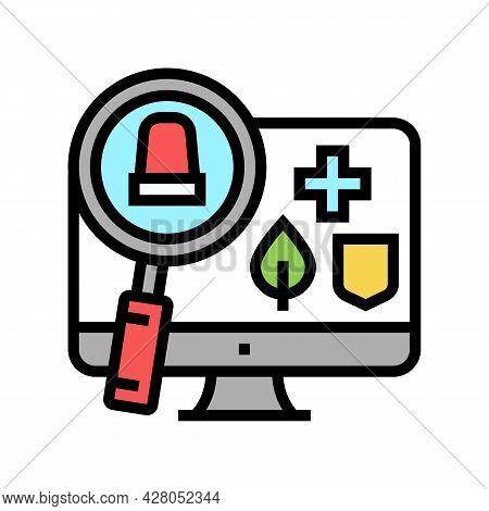 Monitoring And Information Retrieval Color Icon Vector. Monitoring And Information Retrieval Sign. I