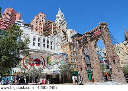 Las Vegas, Usa - April 14, 2014: People Visit The Strip In Las Vegas. 15 Of 25 Largest Hotels In The