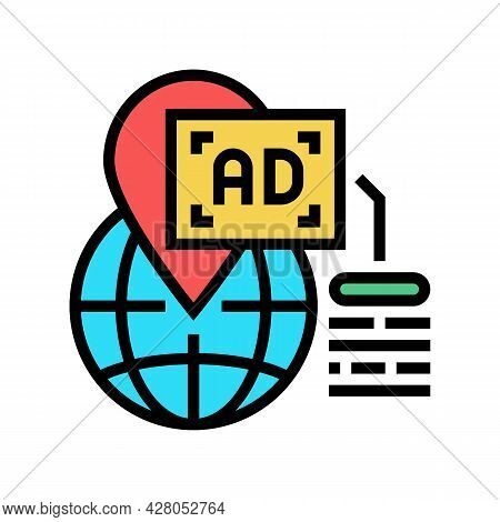Location Advertising Color Icon Vector. Location Advertising Sign. Isolated Symbol Illustration
