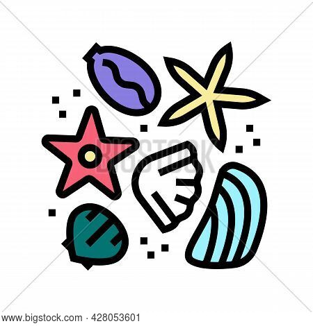 Sea Star And Shell Resin Art Color Icon Vector. Sea Star And Shell Resin Art Sign. Isolated Symbol I