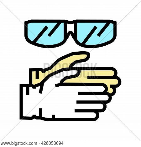 Gloves And Protective Glasses Resin Art Color Icon Vector. Gloves And Protective Glasses Resin Art S