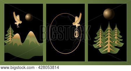 Set Of High Quality Vector Mystic And Elf Theme, Includes Illustrations Of Fores, Tree, Frames With