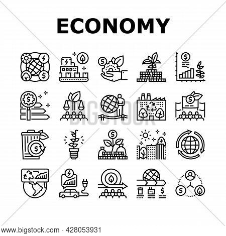 Green Economy Industry Collection Icons Set Vector. Energy Saving Electrical Transport And Zero Wast
