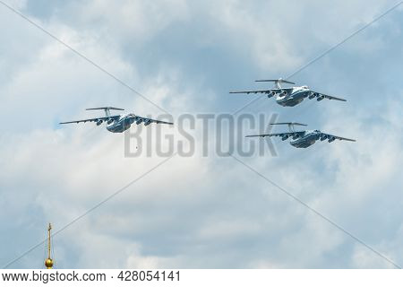 May 7, 2021, Moscow, Russia. Russian Heavy Transport Aircraft Il-76 Over Red Square In Moscow.