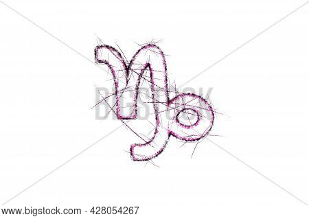 Capricorn Zodiac Sign, Horoscope Astrology Background, Capricorn Horoscope Symbol, Pink Symbol On Wh
