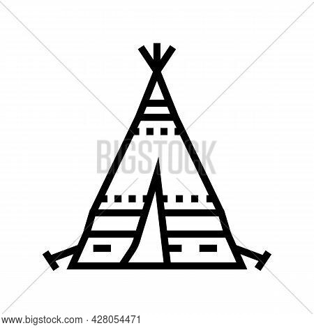 Tipi Tepee Boho Line Icon Vector. Tipi Tepee Boho Sign. Isolated Contour Symbol Black Illustration