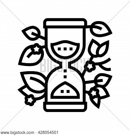 Hourglass With Plant Boho Line Icon Vector. Hourglass With Plant Boho Sign. Isolated Contour Symbol
