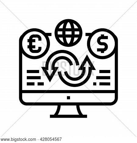 Sale Or Purchase Of Foreign Currency Line Icon Vector. Sale Or Purchase Of Foreign Currency Sign. Is