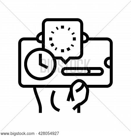 Downloading Process Ephemeral Line Icon Vector. Downloading Process Ephemeral Sign. Isolated Contour