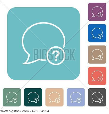 Message Question Outline White Flat Icons On Color Rounded Square Backgrounds