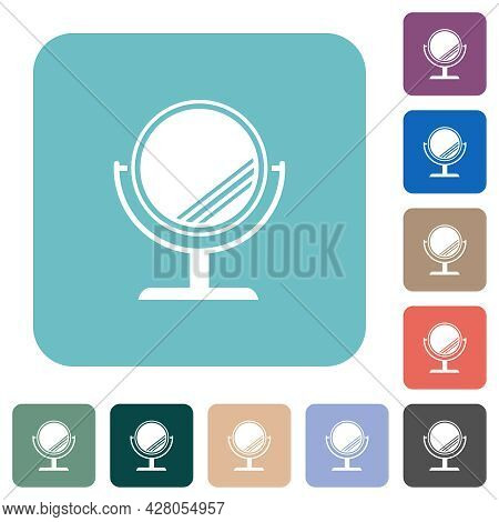 Desk Mirror With Reflection White Flat Icons On Color Rounded Square Backgrounds