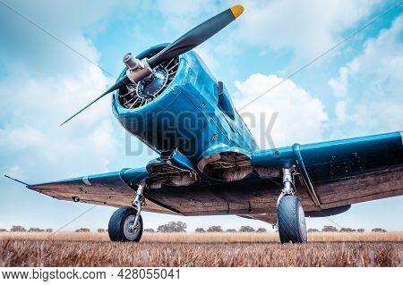 Historical Aircraft On A Meadow Against A Cloudy Sky