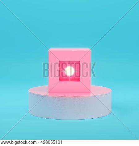 Pink Abstract Geometry Objects With Lighting Sphere On Bright Blue Background In Pastel Colors. Mini