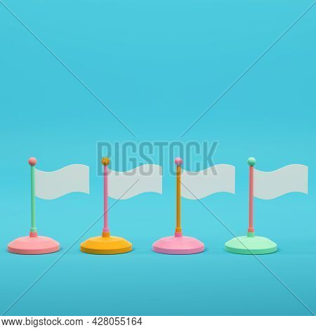 Colorful Flags On Bright Blue Background In Pastel Colors. Minimalism Concept. 3d Render