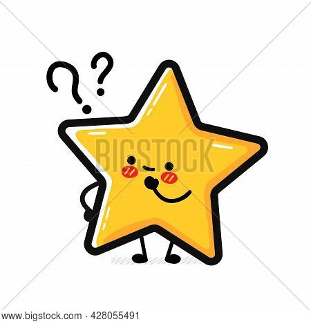 Cute Funny Happy Star Sign Character With Question Mark. Vector Hand Drawn Cartoon Kawaii Character