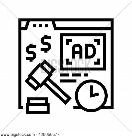 Real Time Bidding Line Icon Vector. Real Time Bidding Sign. Isolated Contour Symbol Black Illustrati