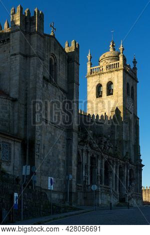 Porto, Portugal - December 02, 2019: Cathedral Of Porto At Sunrise.