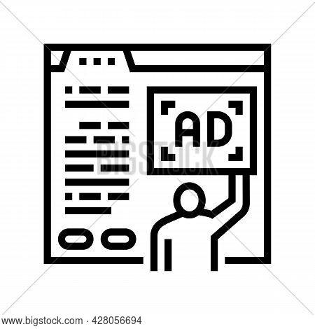 Algorithmic Ad Placement Publisher Line Icon Vector. Algorithmic Ad Placement Publisher Sign. Isolat