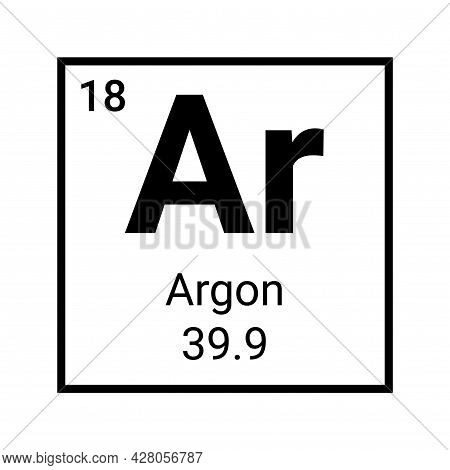 Argon Periodic Table Element Symbol. Chemistry Argon Atom Sign